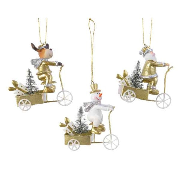 Buy Kaemingk Christmas Iron Bicycle Figures Hanging Decoration - 3 Colours Assorted - Cornwall Garden Shop