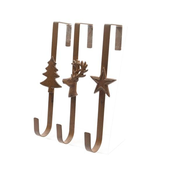 Christmas Iron Door Wreath Hanger - 3 Colours Assorted
