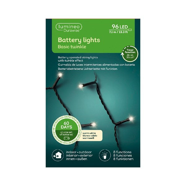 Lumineo Durawise 96 Warm White Twinkle String Lights Battery Operated