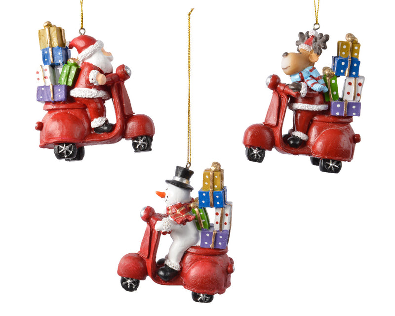 Buy Christmas Figures on Scooter Hanging Decoration - 3 Colours Assorted - Cornwall Garden Shop