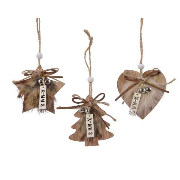 Buy Christmas Plywood Hanging Decorations w Faux Fur - 3 Colours Assorted - Cornwall Garden Shop