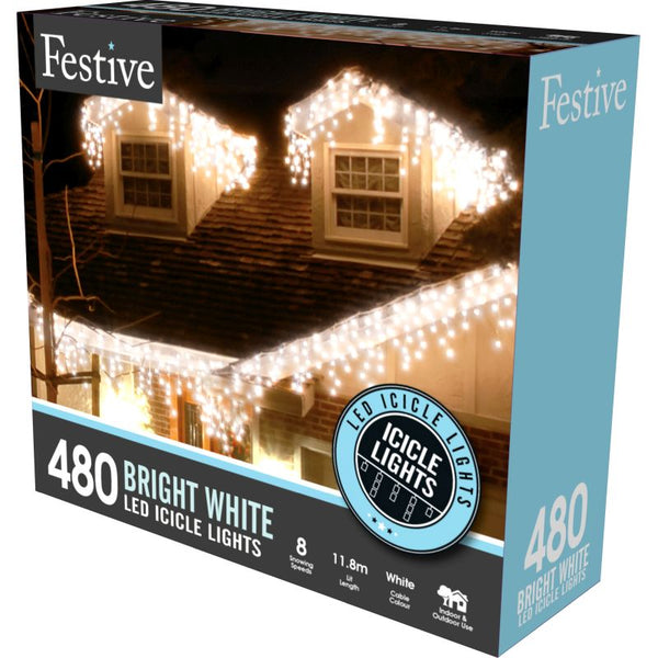 Festive Icicle 480 LED Lights with Timer - Bright White