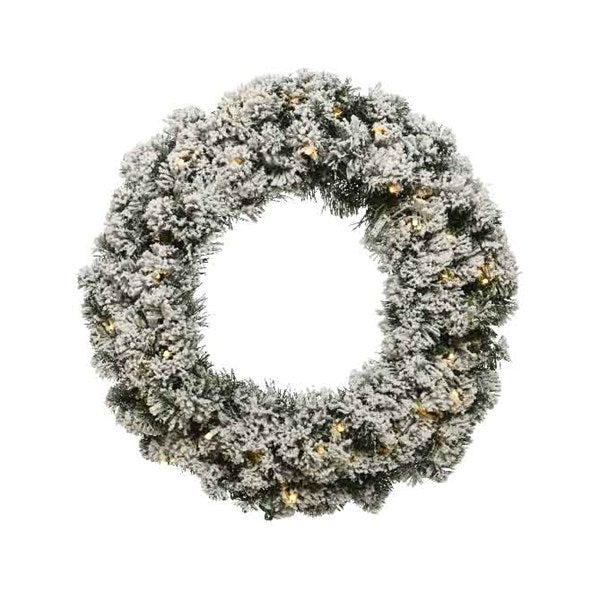 Kaemingk LED Snowy Imperial Wreath 50cm Pre Lit Battery Operated