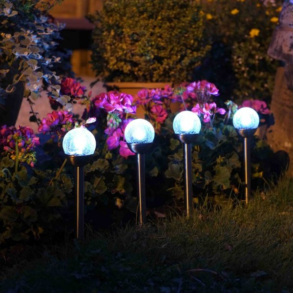 Smart Garden Solar Powered Glow Orb Glass Stake