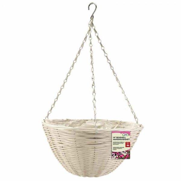 "14"" Seashell Faux Rattan Hanging Basket - Cornwall Garden Shop"
