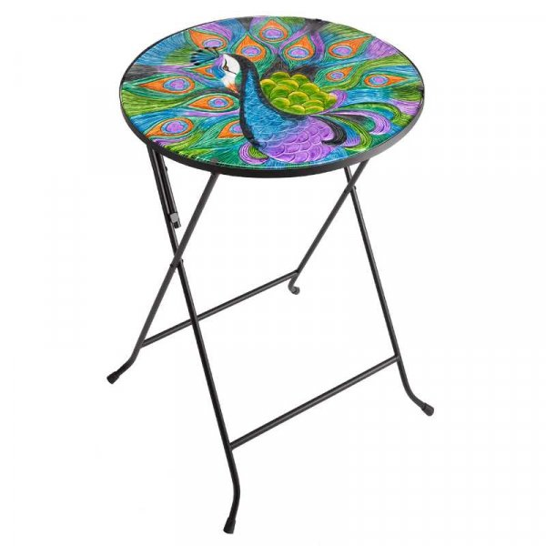 Table Glass Top Peacock 45cm Diameter