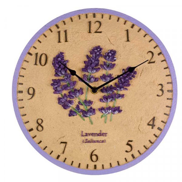 Wall Clock Lavender 12in