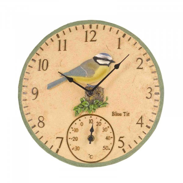 Wall Clock & Thermometer Blue Tit 12in