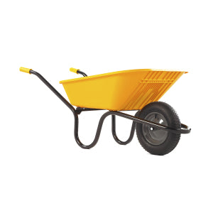Wheelbarrow Yellow Polypro with Pneumatic Wheel 90L