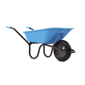 Wheelbarrow Blue Polypro with Pneumatic Wheel 90L