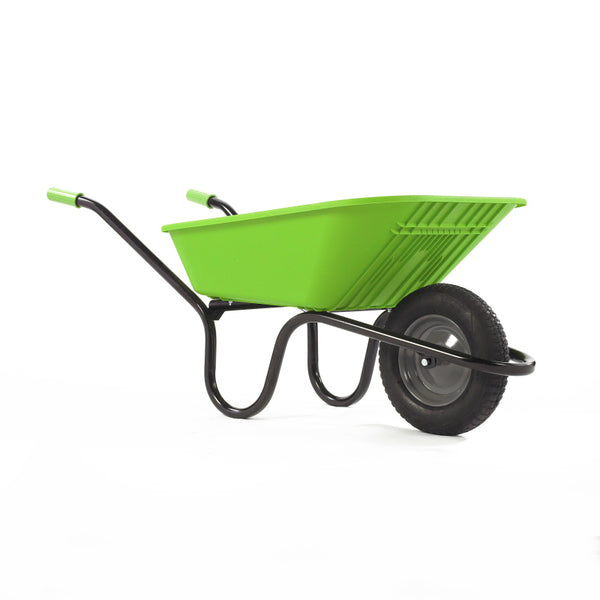 Wheelbarrow Lime Green Polypro with Pneumatic Wheel 90L