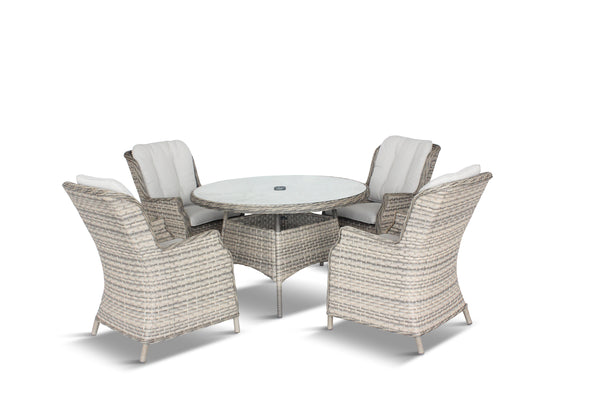 Lyon 4 Seat Dining Set with Deluxe 2.5m Parasol