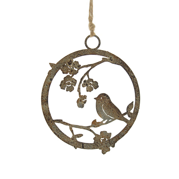 Festive Hanging Decoration Bird on Branch with Rust Effect 13cm