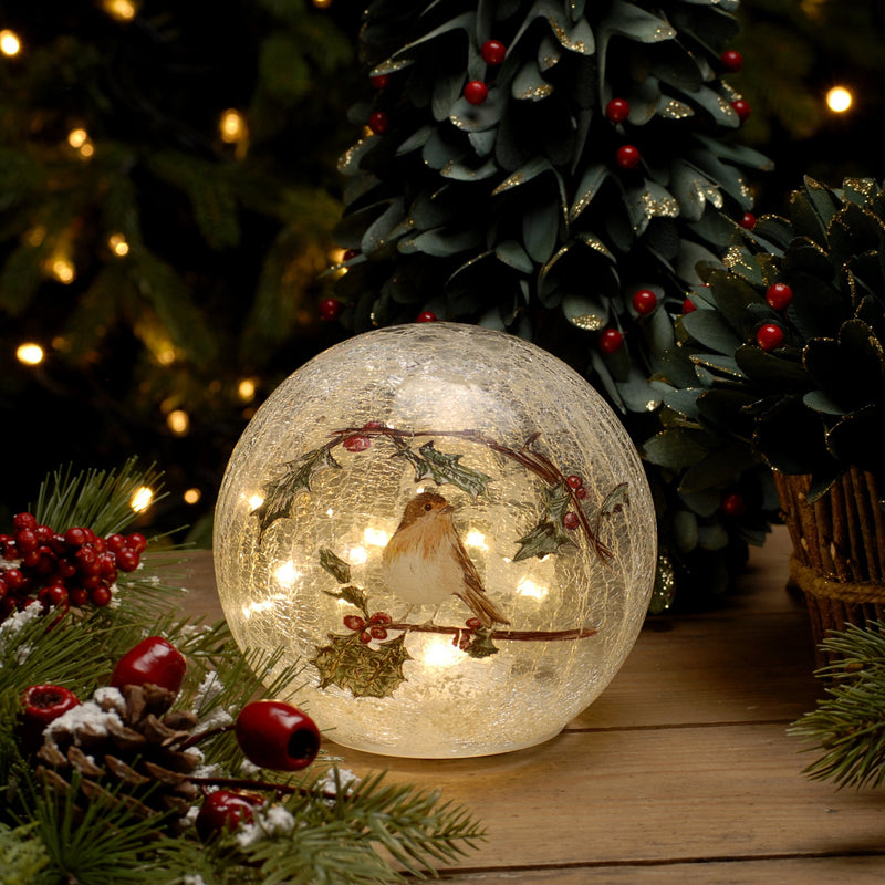 Festive LED Crackle Effect Robin Ball 15cm Battery Operated