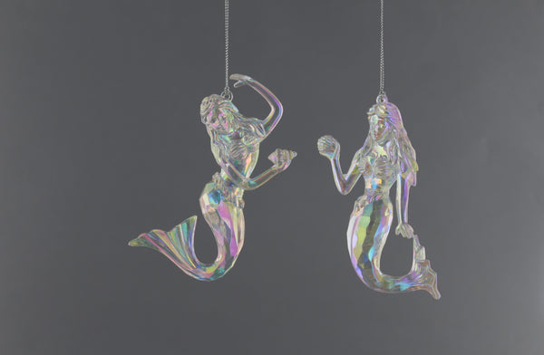 Festive Hanging Decoration Clear Iridescent Mermaids 12cm - 2 Assorted