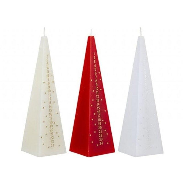 Buy Christmas Advent Candle 6x21cm - 3 Colours Assorted - Cornwall Garden Shop