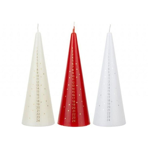 Buy Christmas Advent Candles 5.5 x 15cm - 3 Colours Assorted - Cornwall Garden Shop
