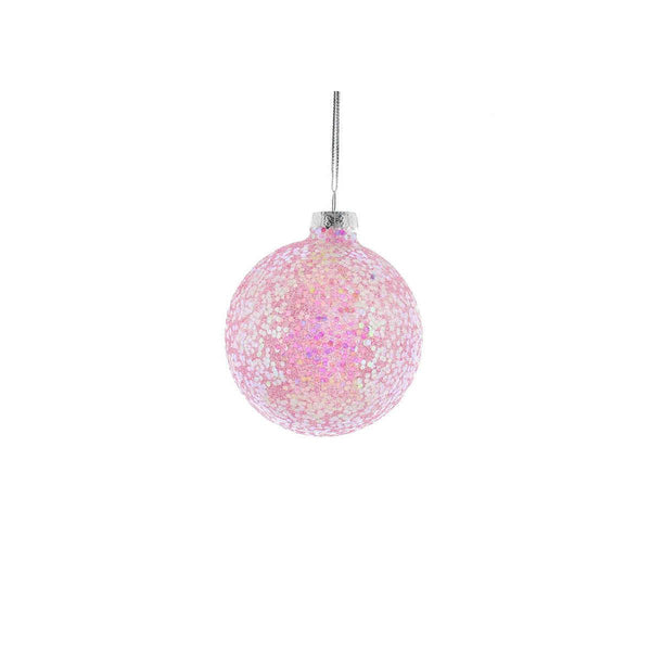 Buy 8cm Pink Sequin Glass Christmas Tree Bauble - Cornwall Garden Shop