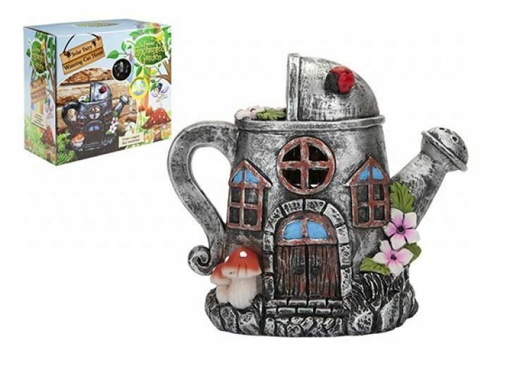 Secret Fairy Enchanted Garden LED Solar Powered Silver Watering Can House