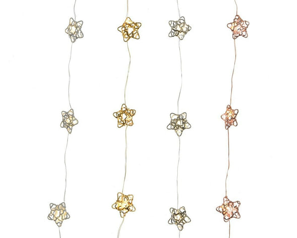 Buy Kaemingk Micro LED Hanging String Stars - 4 Colours Assorted - Cornwall Garden Shop