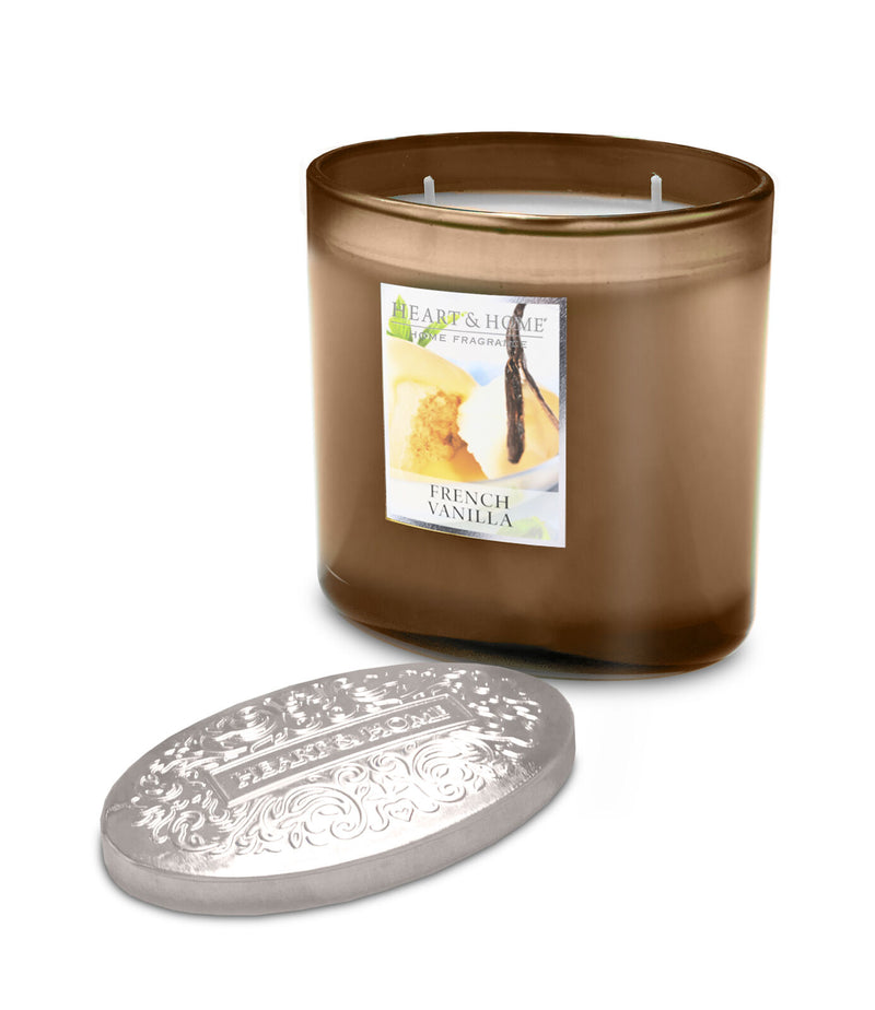 Heart & Home French Vanilla Fragranced 2 Wick Ellipse Candle