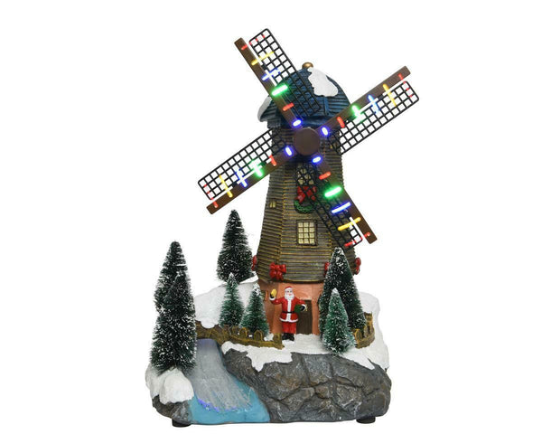 Buy Multi Coloured Indoor LED Fibre Optic Windmill Scene - Cornwall Garden Shop