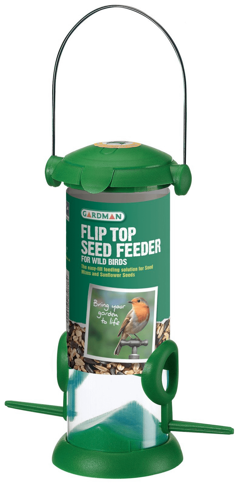 Gardman Flip Top Seed Feeder For Wild Birds