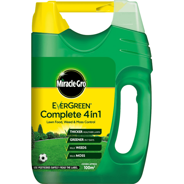 Miracle-Gro Evergreen Complete 4 in 1 Spreader Lawn Feed, Weed and Moss Killer 100m²