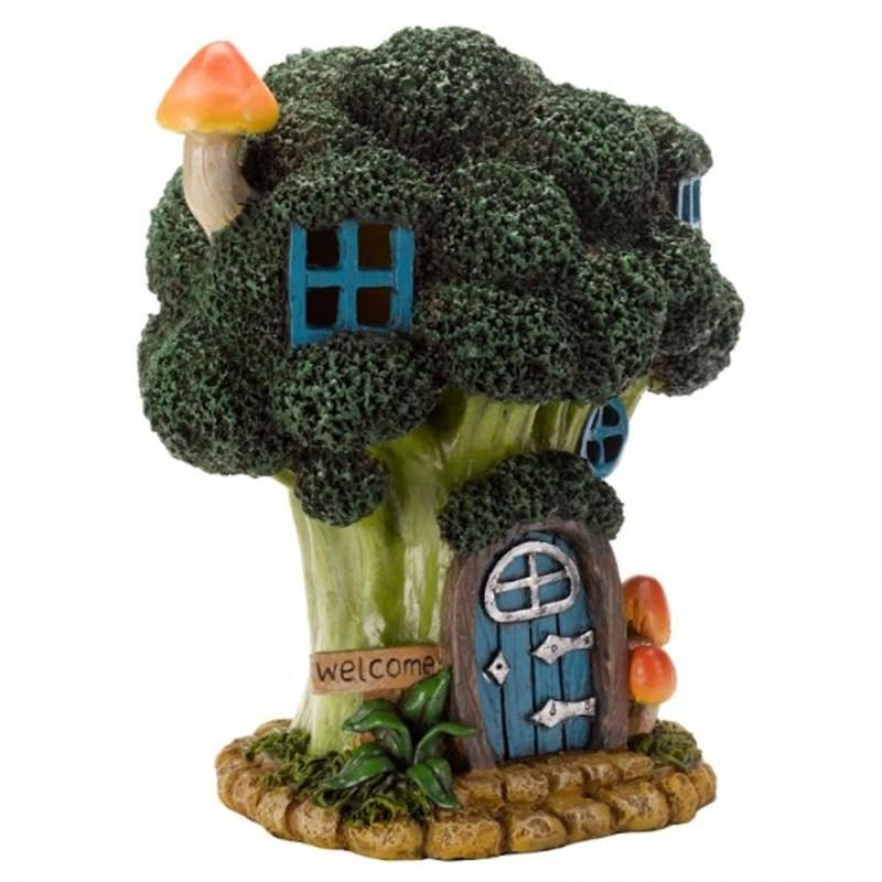 Battery Powered Broccoli Bungalow Hand Painted Garden Ornament - Cornwall Garden Shop