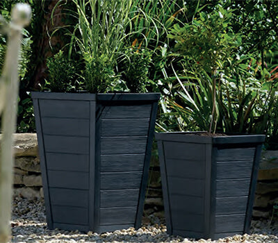 Square Tapered Low Planter 31cm ANTHRACITE
