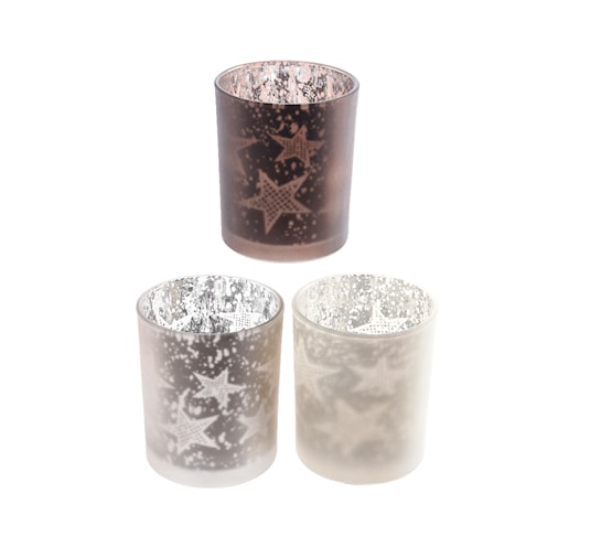 Buy Glass Tealights w Star Lasered Effect - 3 Colour Assorted - Cornwall Garden Shop