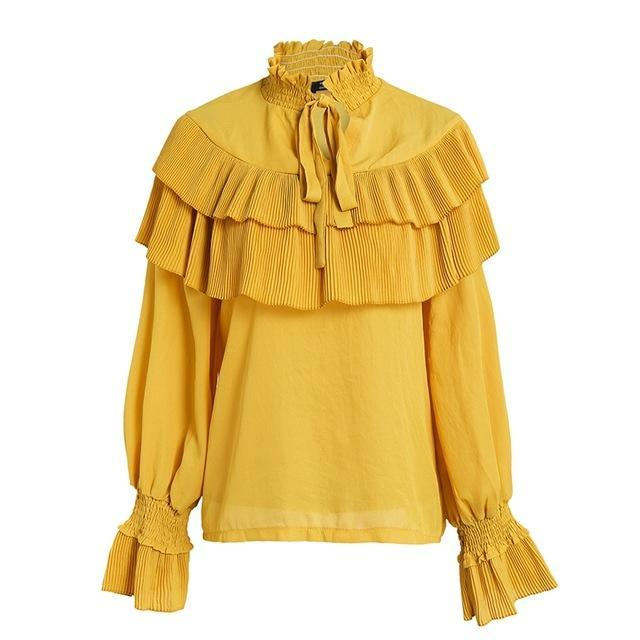8d512d14eacfab ... Simplee Vintage lace up ruffle blouse shirt women Long sleeve white  chiffon blouse Streetwear casual summer ...