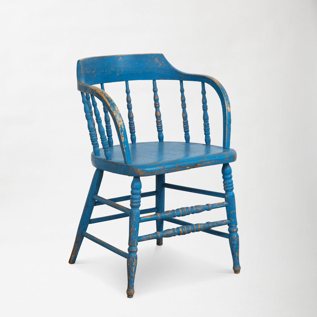 BLUE PAINTED WINDSOR CHAIRS Vintage FOUND | MARKED