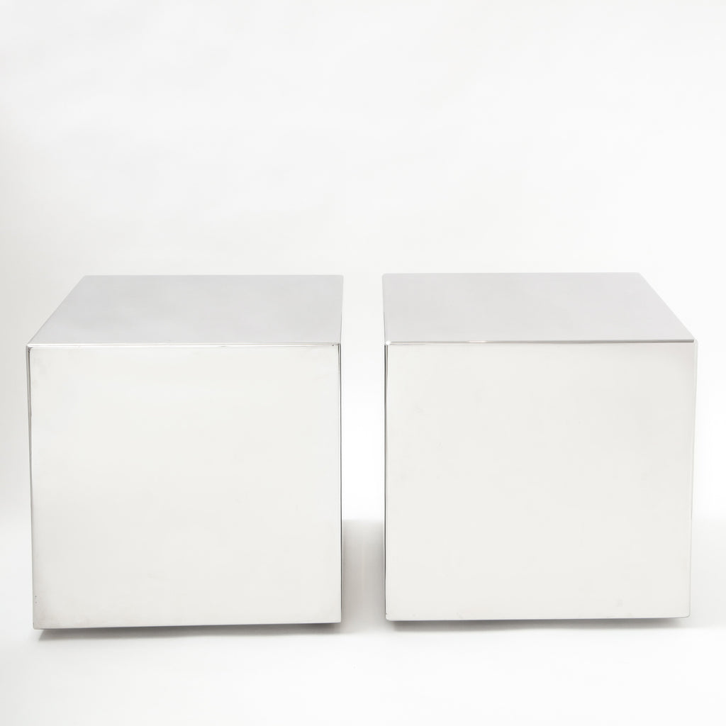 CHROME CUBE SIDE TABLES Vintage FOUND | MARKED