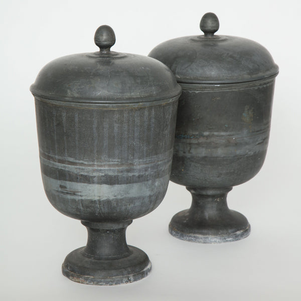 PAIR OF METAL URNS Vintage FOUND | MARKED