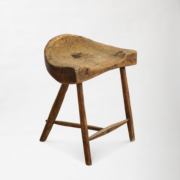 RUSTIC STOOL Vintage FOUND | MARKED