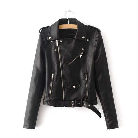 New Short Faux Soft Leather Jacket Women Fashion Zipper - Uniquely Fashion