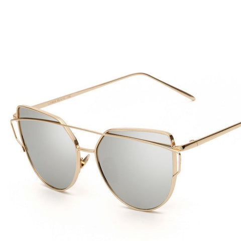 Women Luxury Cat eye Brand Design Mirror  Gold Vintage - Uniquely Fashion