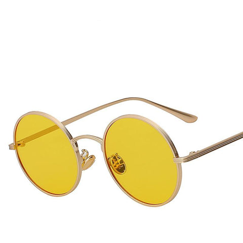 Vintage Sunglasses Women Retro Round Glasses Yellow Lense - Uniquely Fashion