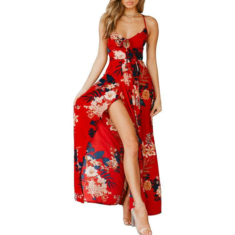 Red Floral Print Sexy Lace Up V Neck Women Maxi Dresses - Uniquely Fashion