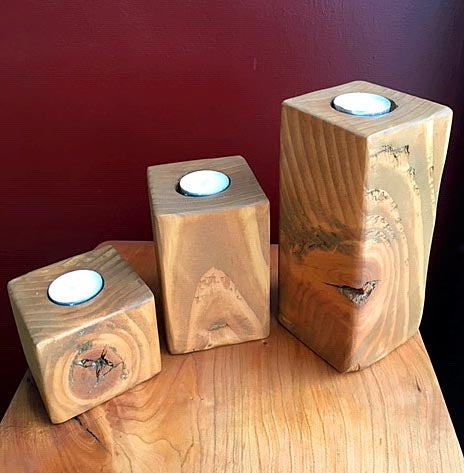 Beauty of Wood - Cedar Pillar Candlesticks