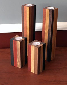 Beauty of Wood - Exotic Blend Pillar Candlesticks