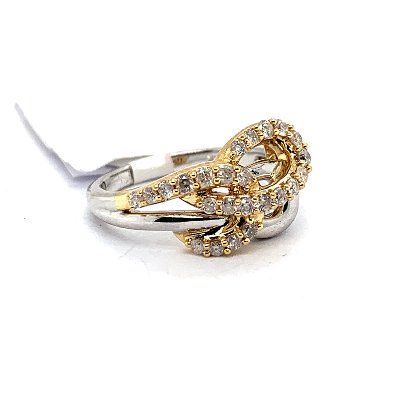 14Kt 2-Tone Yellow and White Gold 0.50CTW Cocktail Diamond Ring