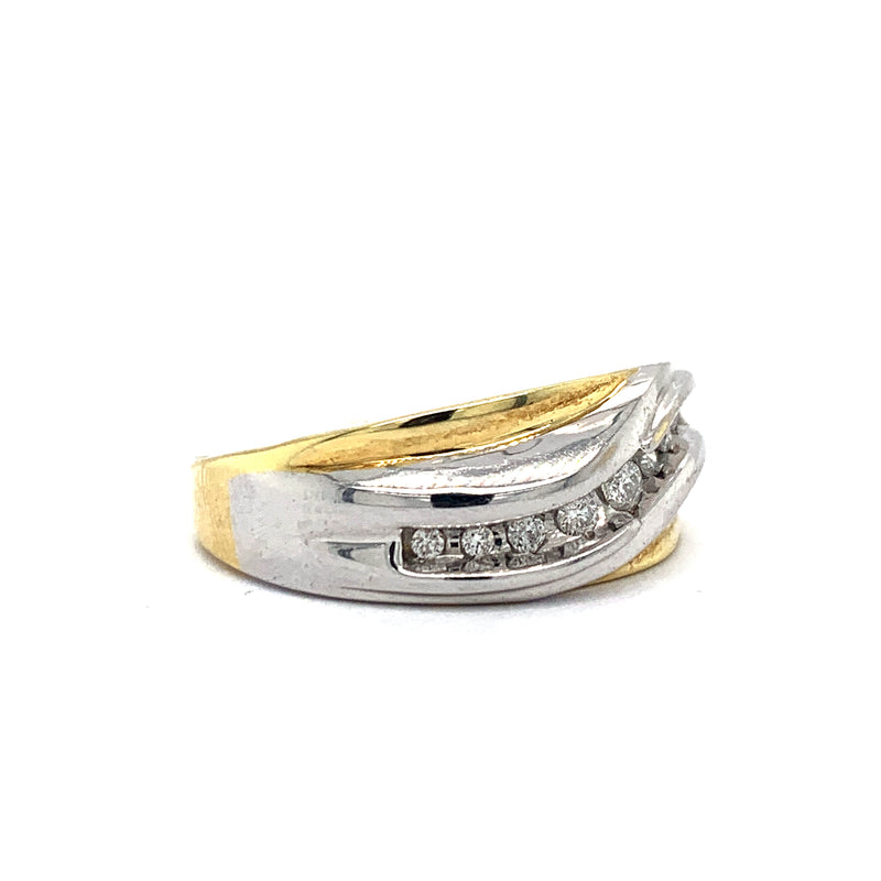 14Kt Two-Tone Yellow and White Gold 0.40CTW Diamond Men's Wedding Band