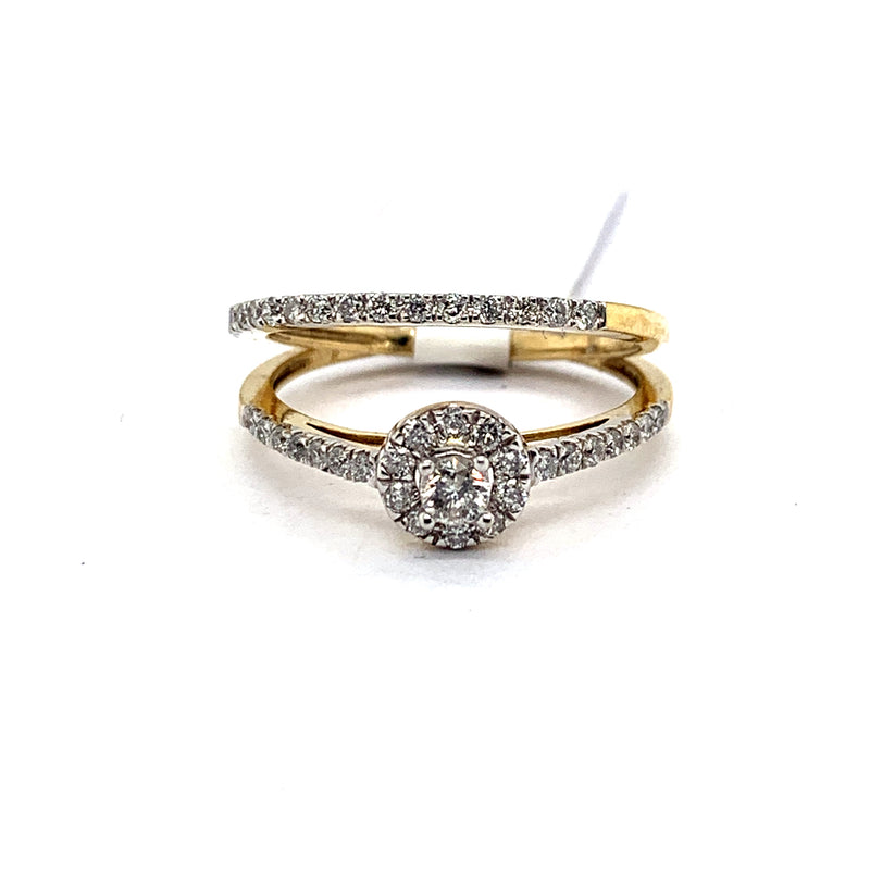 10Kt Yellow Gold 0.65CTW Solitaire Diamond Bridal Wedding Engagement Ring Set