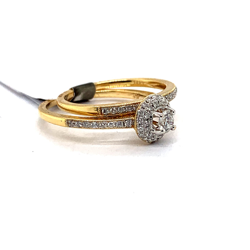 14Kt Yellow Gold 0.50CTW Solitaire Diamond Bridal Wedding Engagement Ring Set