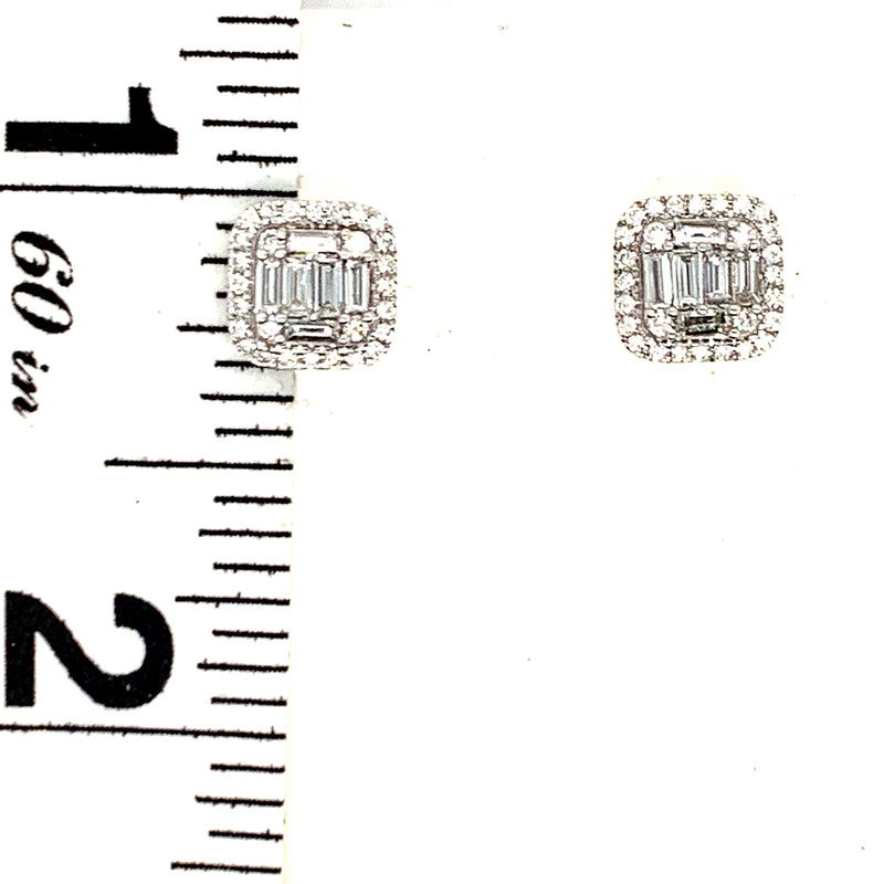 14KT White Gold 0.50CTW Diamond Baguette Earrings