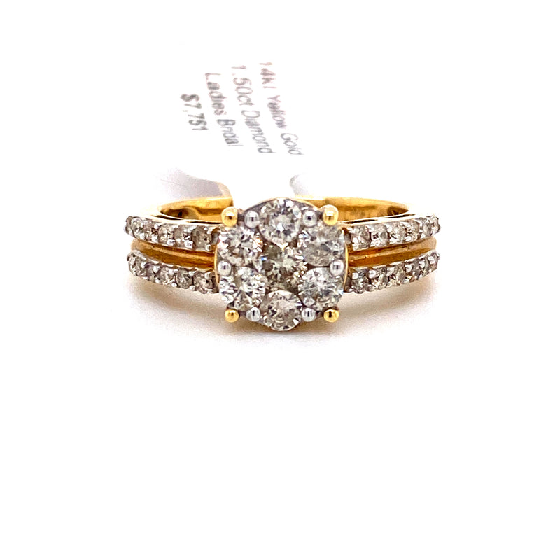 14Kt Yellow Gold 1.50CTW Diamond Bridal Engagement Wedding Ring