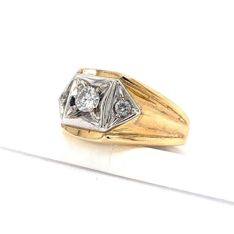 14Kt Yellow Gold .50CTW Solitaire Diamond Men's Ring