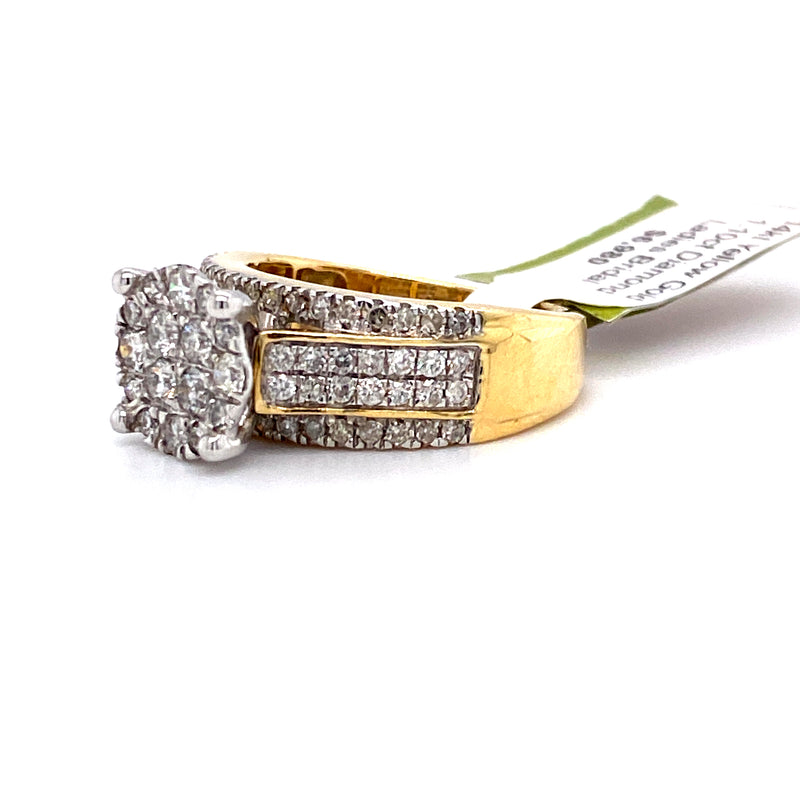 14Kt Yellow Gold 1.10CTW Diamond Bridal Engagement Wedding Ring